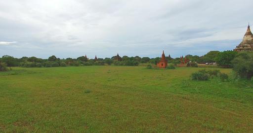 low forward aerial shot - Shwe San Daw Pagoda and stupas Footage