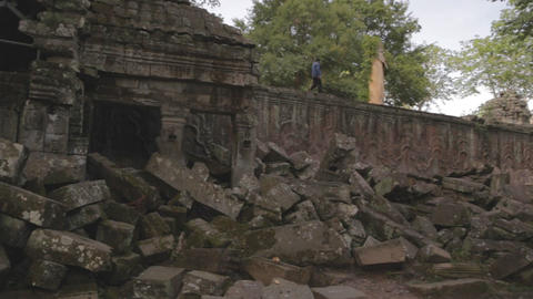 pan of temple ruins outside ta prohm temple Footage
