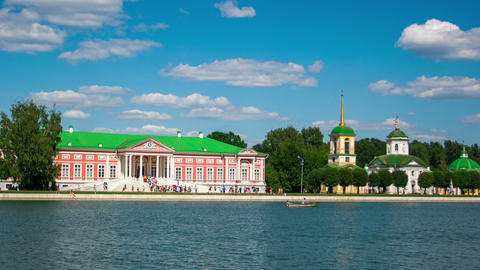 Vacationers Go Boating About Kuskovo Palace stock footage