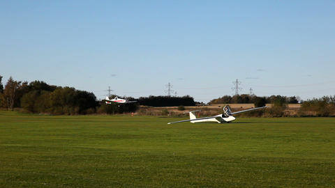A small plane landing Stock Video Footage
