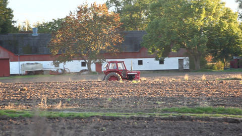A red tractor Stock Video Footage