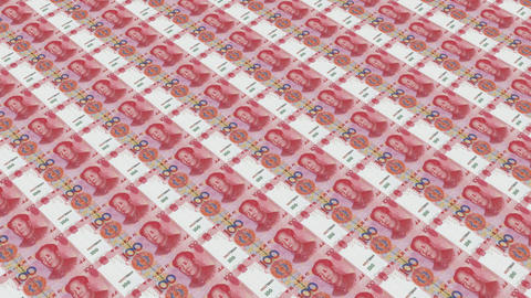 100 RMB bills,Printing Money Animation Stock Video Footage