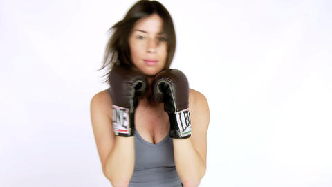 Sexy female boxer punching quick slow motion Stock Video Footage