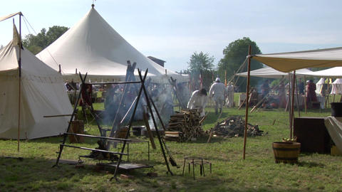 medieval encampment 01 Stock Video Footage