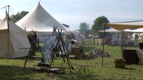 medieval encampment 01 Stock Video Footage