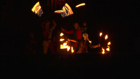 medieval fire show 02 Stock Video Footage