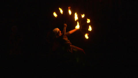 medieval fire show 04 Stock Video Footage
