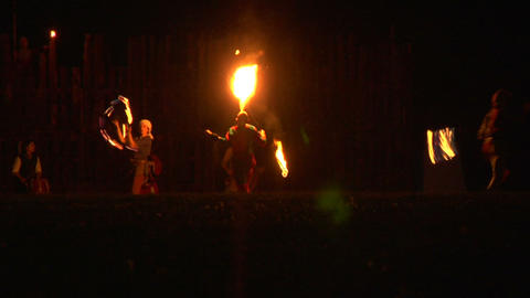 medieval fire show 06 Stock Video Footage