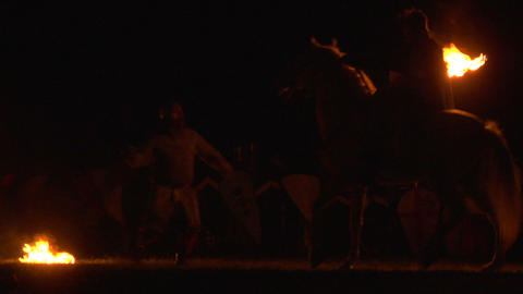 medieval night fight 04 Stock Video Footage