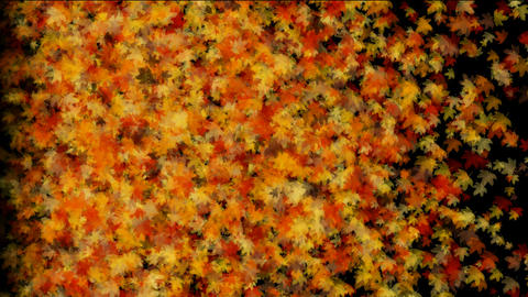 a group of golden maple leafs flying,autumn,fall.Waterfalls,lava,magma,volcanic,storms,energy,spores Animation