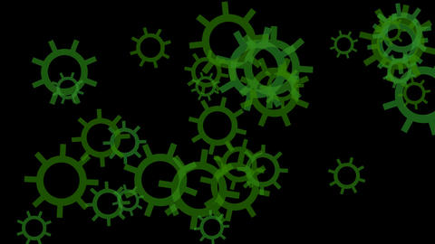 rotating green gears or... Stock Video Footage