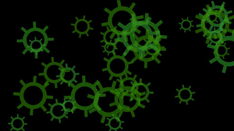 rotating green gears or wheel.mystery,solve,thinking,science fiction,future,stylish,particle,pattern Animation