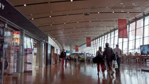Passengers walking through terminal airport Vantaa Stock Video Footage