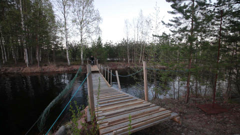 Bicyclist Rides over the Bridge in the Forest Stock Video Footage