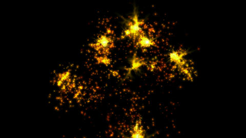 Golden Fireworks and flicker stars,holiday.Wedding,gas,particle,Design,symbol,dream,vision,idea,crea Animation