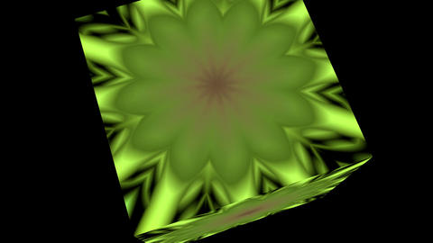 Changing flower (pattern) in a rotating cube Stock Video Footage