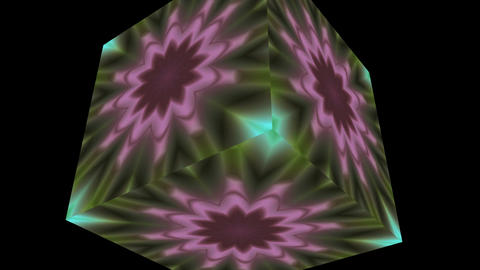 Changing flower (pattern) in a rotating cube Animation