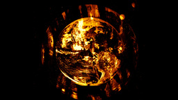 Mother Earth takes off from fire Stock Video Footage