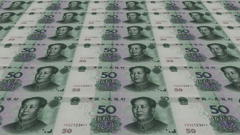 Printing Money Animation,50 RMB bills Stock Video Footage