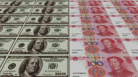 Printing Money Animation,100 dollar and 100 RMB bills Stock Video Footage