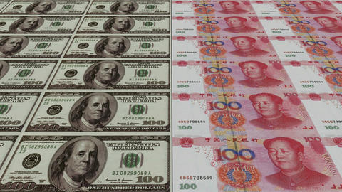 Printing Money Animation,100 dollar and 100 RMB bills Animation