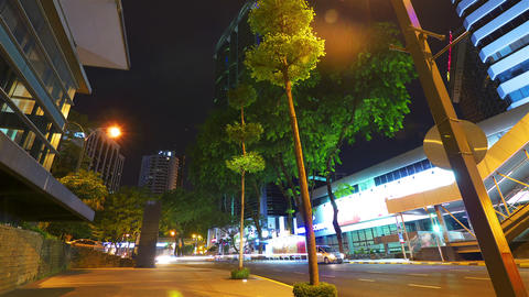 Modern city street at night, timelapse in motion Stock Video Footage