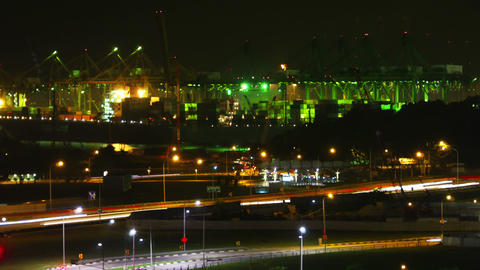 Port of Singapore at night Stock Video Footage