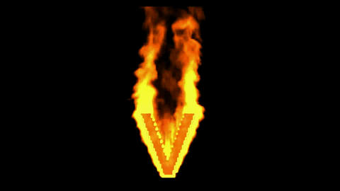fire letter v,uppercase Stock Video Footage