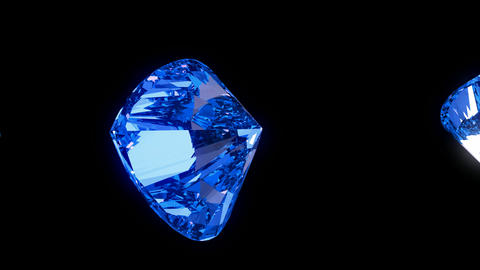 Loopable blue heart cut diamonds flow with slow motion Animation