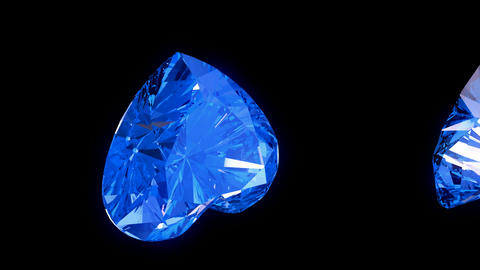 Loopable blue heart cut diamonds flow with slow motion Stock Video Footage