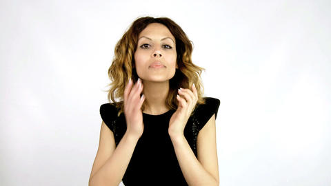 Elegant woman checking her make-up Stock Video Footage