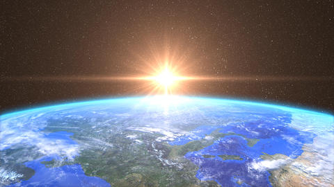 Highly Detailed Sunrise over the Earth Animation
