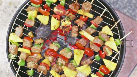 HD Footage of Grilling barbecue grill, view top Footage