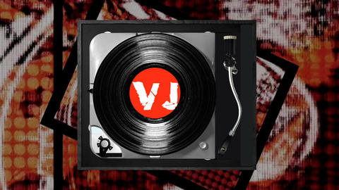 Vinyl Player And Text Animation 'I Am A Vj' stock footage
