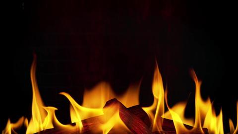Fireplace - 01 - Flame, Smoke, Wood, Wall - Loop Animation