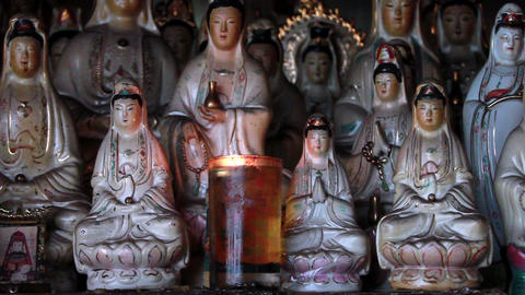 Old Chinese porcelain figurines of Guan Shi Yin Bodhisattva