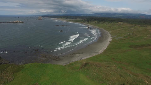 Aerial view of an oregon beach Footage
