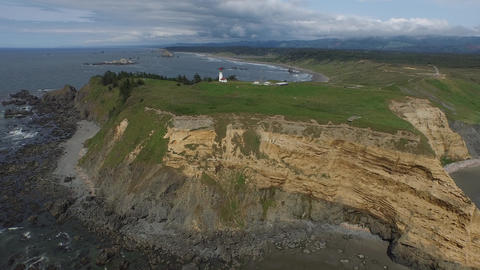 Aerial View Of A Lighthouse On The Oregon Coast stock footage