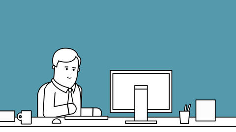Businessman Working At Desk In Office Black And White Animation stock footage