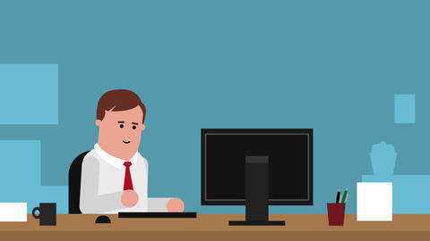 Businessman Working At Desk In Office Animation stock footage