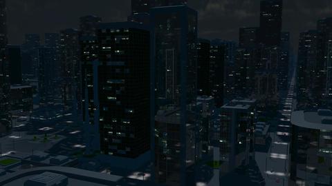 Futuristic City Flight (Night Version) Animation