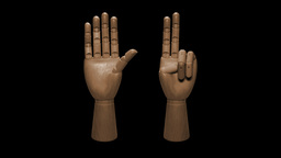 Wooden Mannequin Hand Counting stock footage