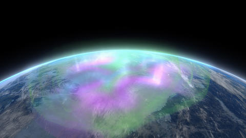 Aurora, borealis, illuminate, lights, low orbit, space Animation