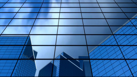 Building blue sky reflection, professional corporate Animation
