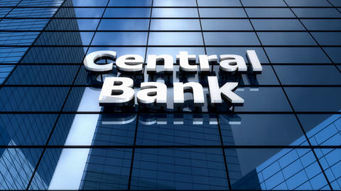 Central Bank Building Blue Sky Timelapse stock footage