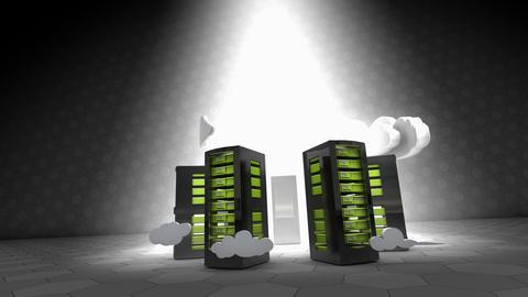 Concept animation cloud computing, server racks technology Animation
