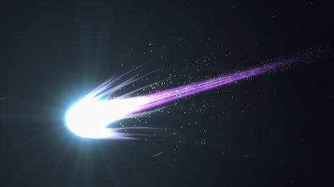 Artist rendering, beautiful close up view blue comet Animation