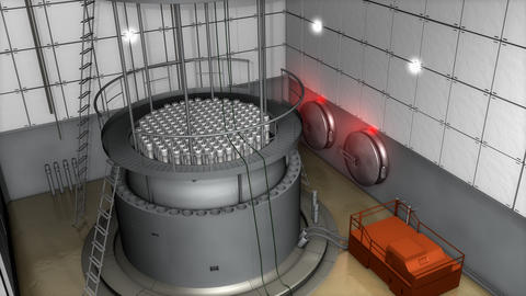 Nuclear reactor interior view, modern high end safety measures Animation