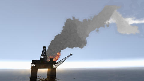 Oil rig on fire incident. Safety and emergency Animation