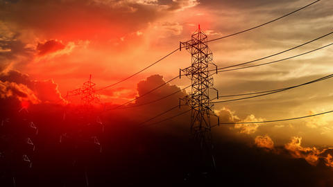 cable, electric, energy, grid, power, pylon, supply, tower Animation